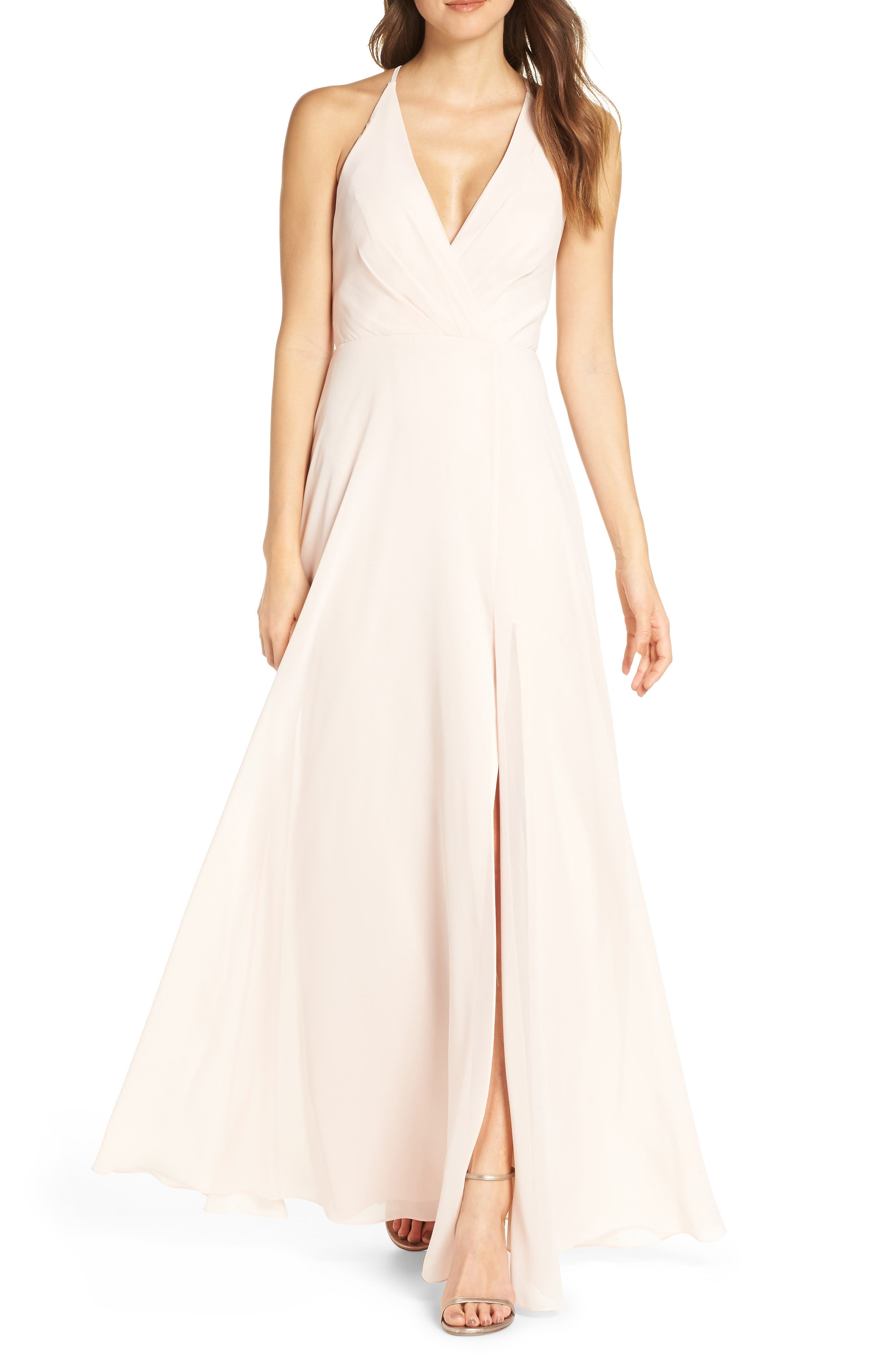 Jenny Yoo Bryce Surplice V-Neck Chiffon Evening Dress, Pink