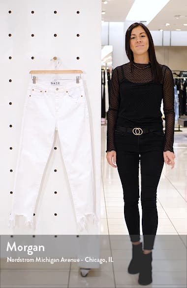 Straight up High Waist Destroyed Hem Straight Leg Jeans, sales video thumbnail