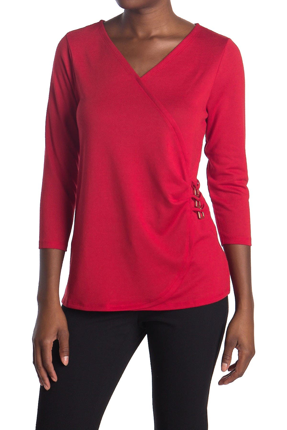 Image of By Design Chase 3/4 Sleeve Faux Wrap Top
