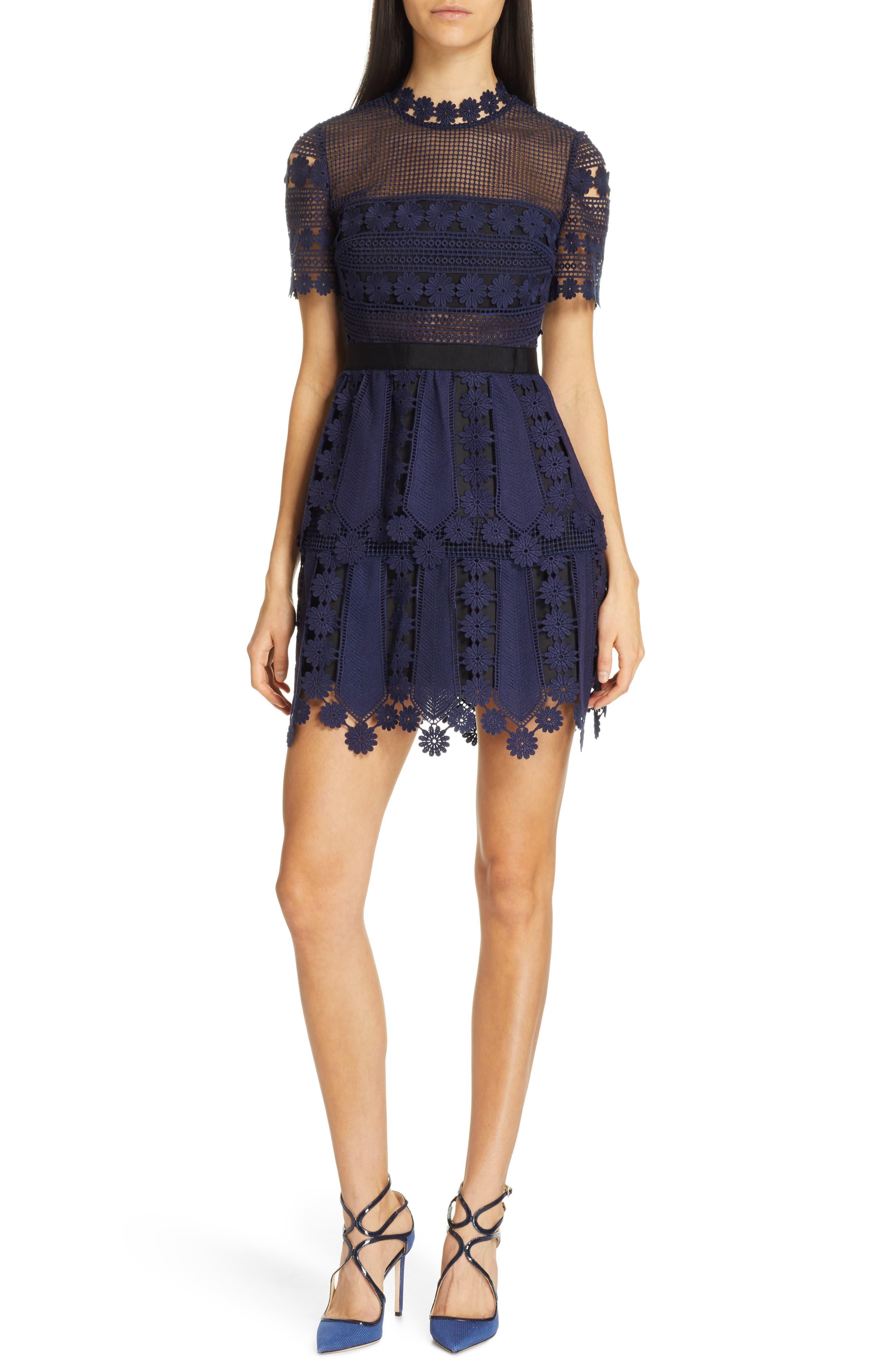 Self-Portrait Teardrop Lace Minidress, Blue