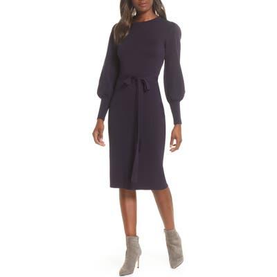 Elilza J Long Sleeve Belted Sweater Dress, Blue