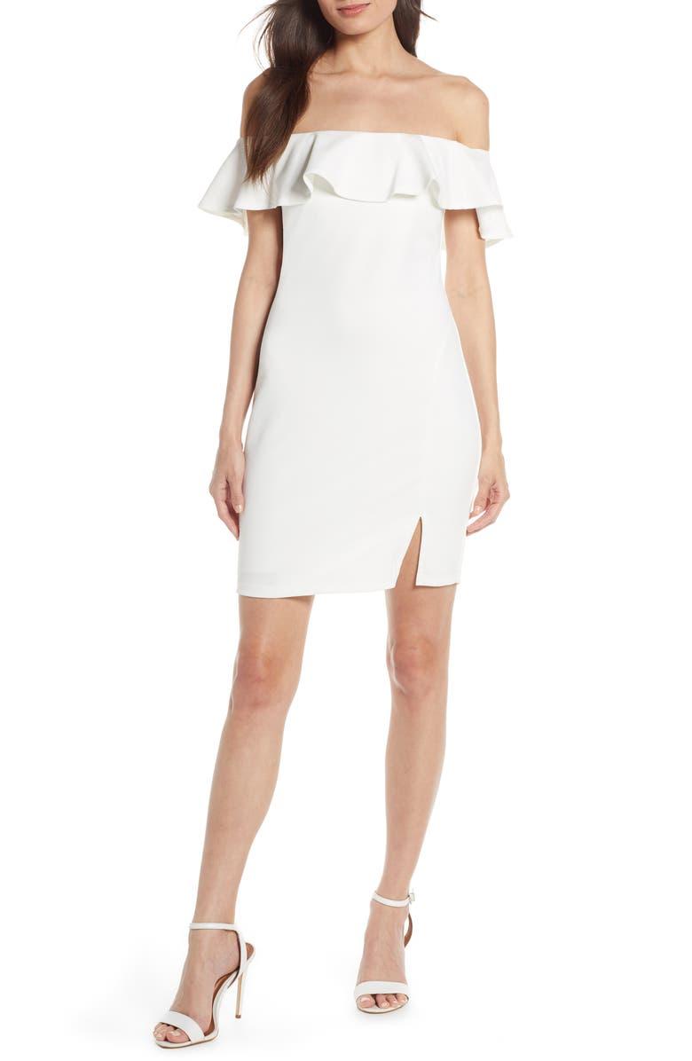 SEQUIN HEARTS Off the Shoulder Sheath Scuba Dress, Main, color, WHITE