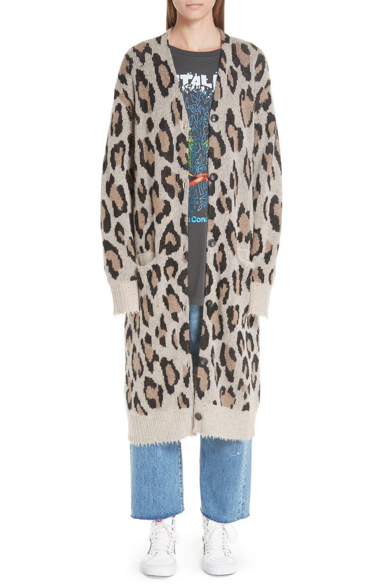 R13 Long Leopard Cashmere Cardigan, Main, color, 242