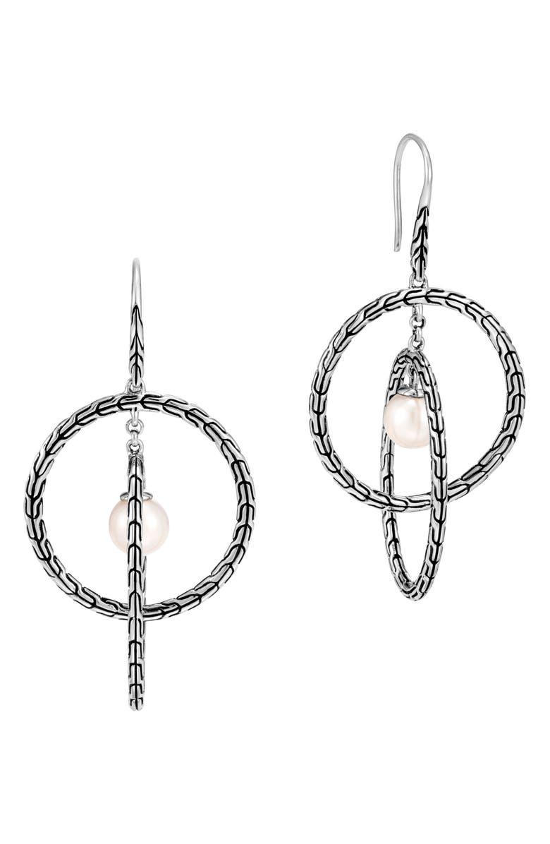 JOHN HARDY Classic Chain Silver Orbital Drop Earrings, Main, color, PEARL/ SILVER