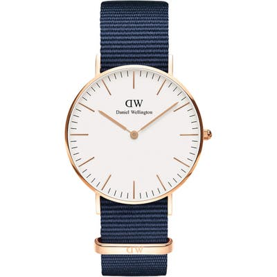 Daniel Wellington Classic Bayswater Nylon Strap Watch,