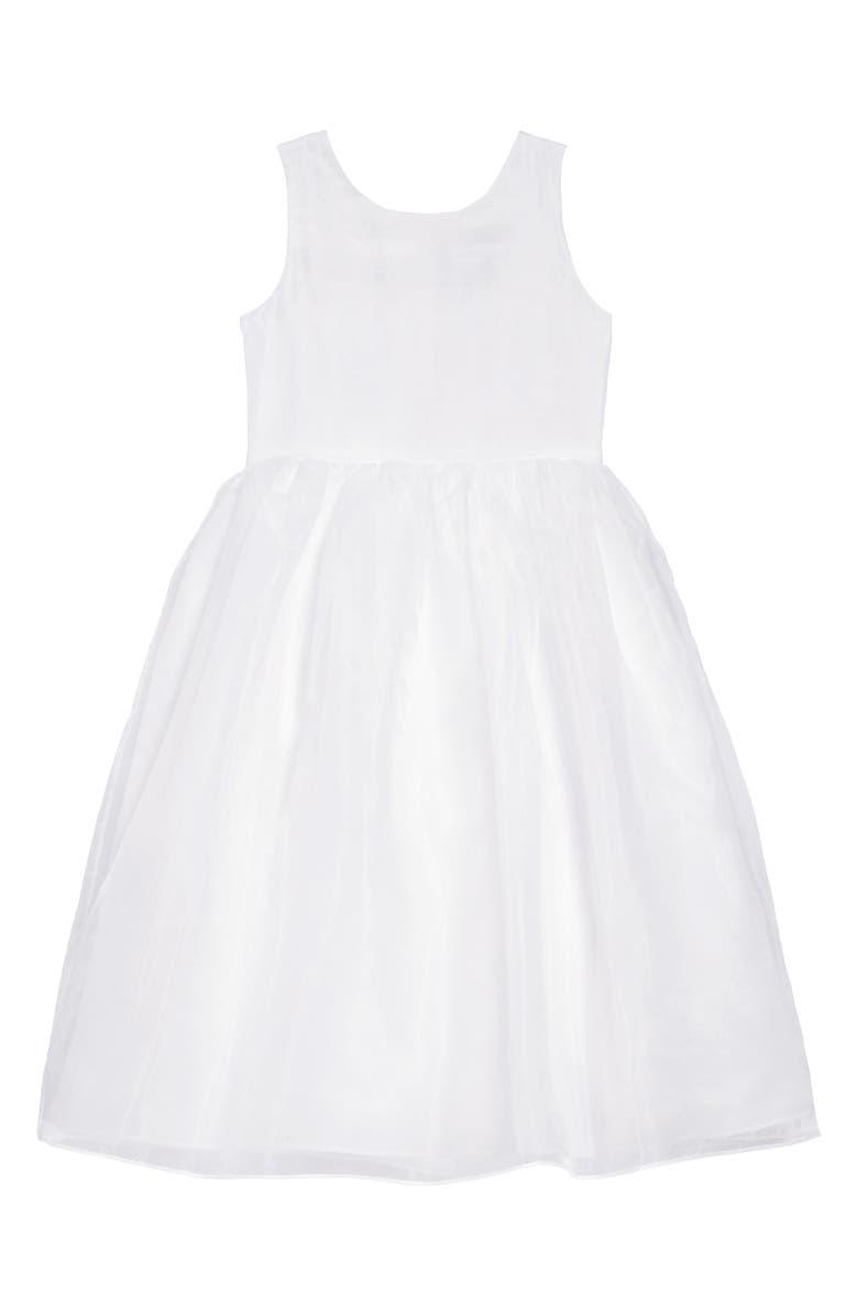 US ANGELS Sleeveless Organza Dress, Main, color, WHITE