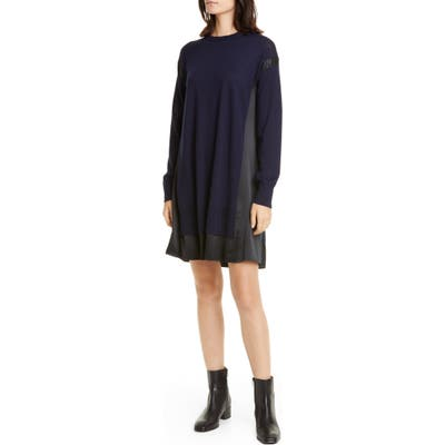 Rag & Bone Sadie Merino Wool & Silk Long Sleeve Shift Dress, Blue