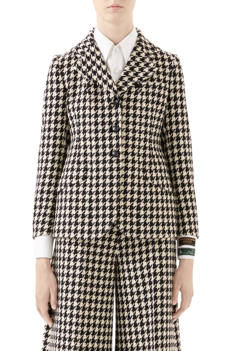 GUCCI Houndstooth Wool & Cotton Blazer, Main, color, BLACK/ MIX