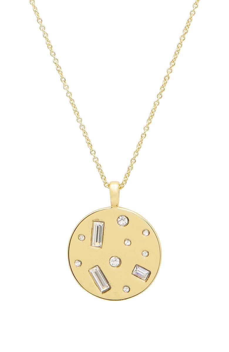 GORJANA Desi Coin Pendant Necklace, Main, color, JET HEMATITE CRYST/BLK CRYST