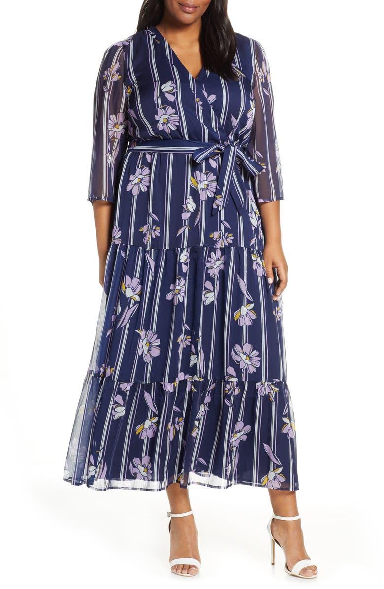 ELOQUII Floral Maxi Dress, Main, color, 400