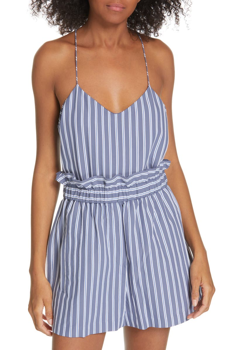 TIBI Stripe Twill Racerback Camisole, Main, color, DUSTY BLUE MULTI