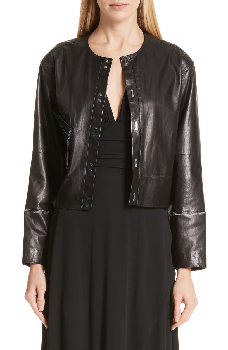 YIGAL AZROUËL Collarless Leather Jacket, Main, color, 001