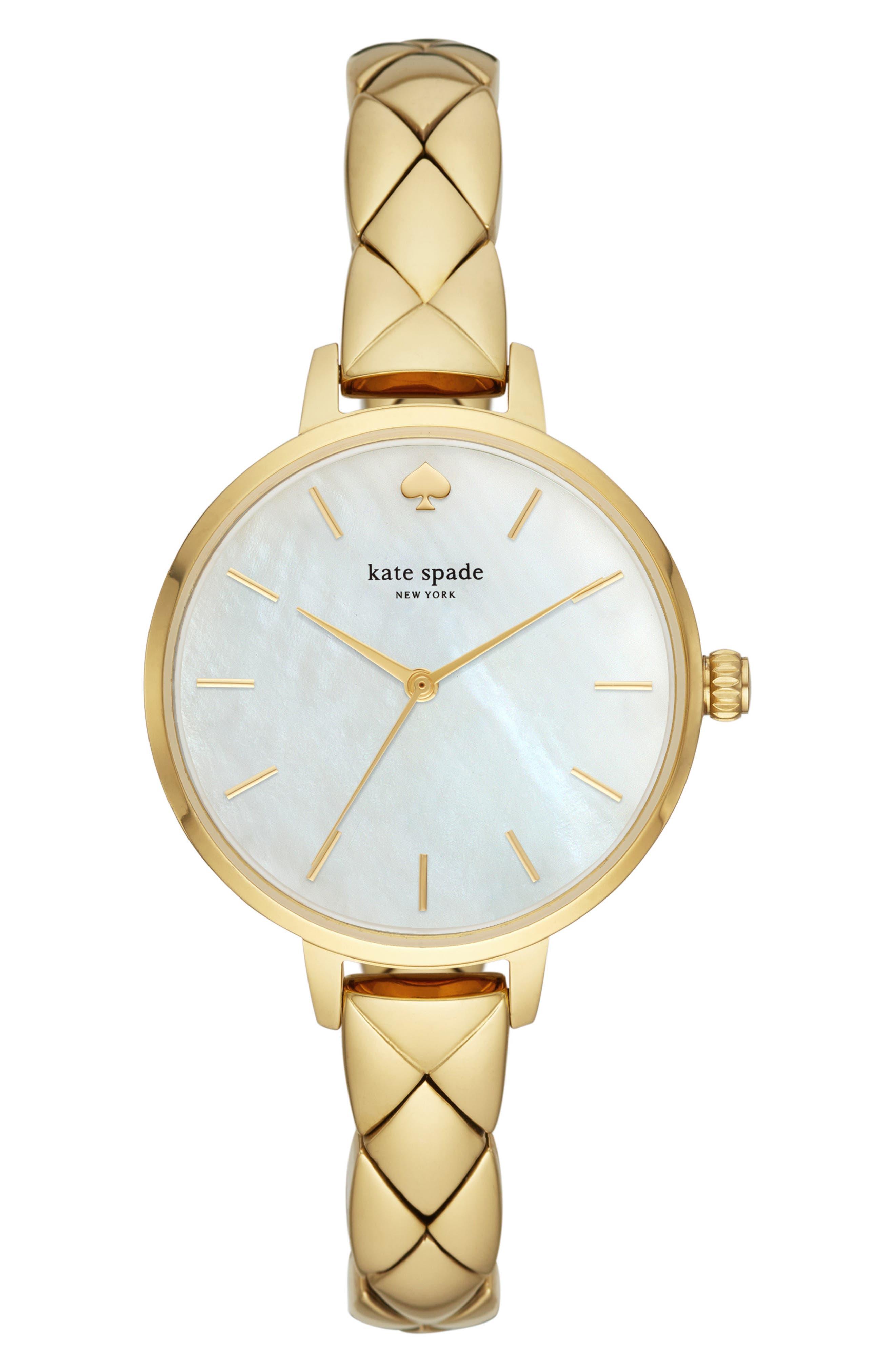 Kate Spade Women's Metro Bracelet Watch In Gold/ Mop/ Gold