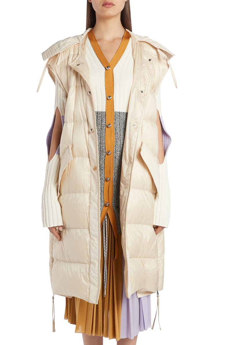 MONCLER GENIUS 2 Moncler 1952 Hooded Down Puffer Vest, Main, color, IVORY
