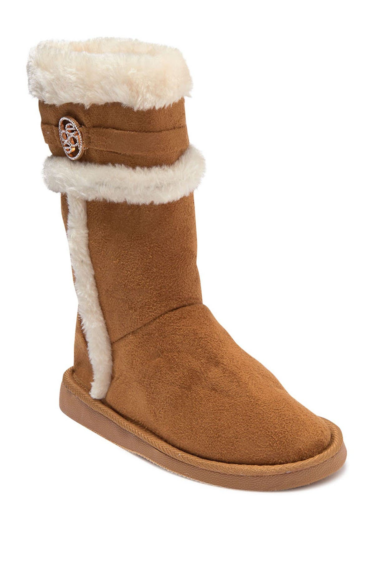 Image of bebe Tall Faux Fur Embellished Boot