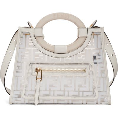 Fendi Small Runway Logo Transparent Shopper - White