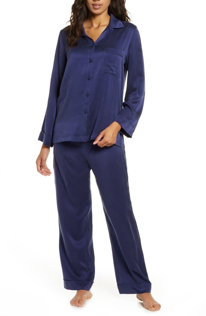 PAPINELLE Silk Pajamas, Main, color, NAVY
