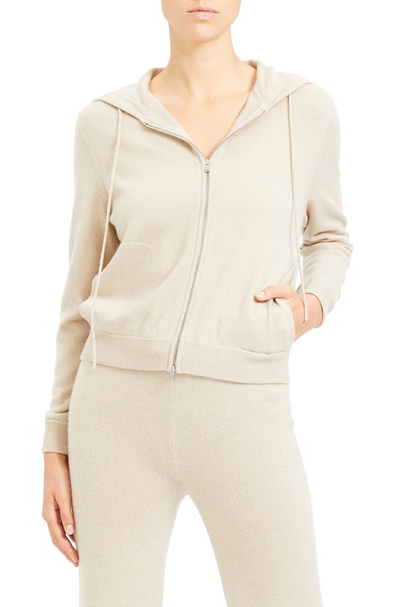 THEORY Zip Front Cashmere Hoodie, Main, color, OATMEAL