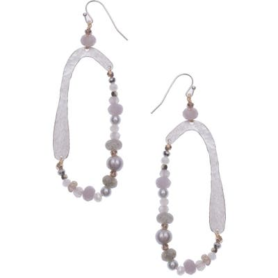 Nakamol Design Hammered Metal & Freshwater Pearl Teardrop Earrings
