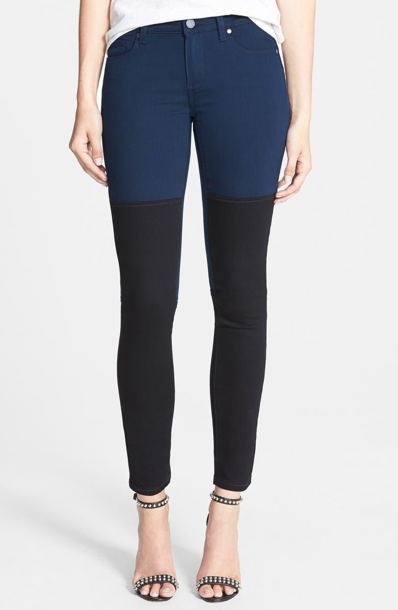 PAIGE Denim 'Olga' Colorblock Crop Skinny Stretch Ankle Jeans, Main, color, 400