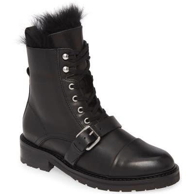 Allsaints Donita Combat Boot With Genuine Shearling Trim, Black