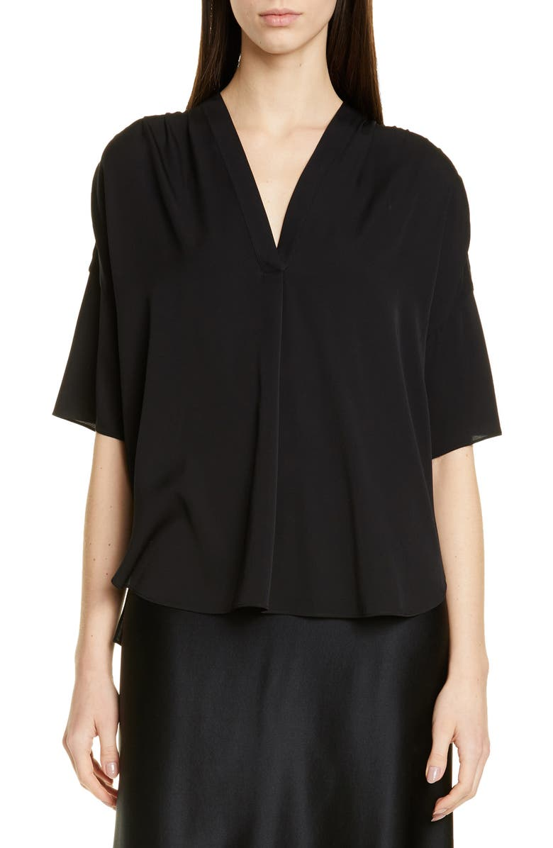 V Neck Stretch Silk Top by Vince