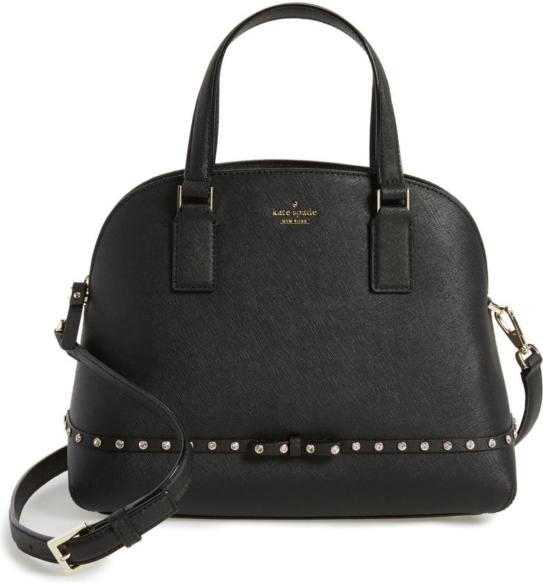 KATE SPADE NEW YORK cameron street - jeweled lottie leather satchel, Main, color, 001