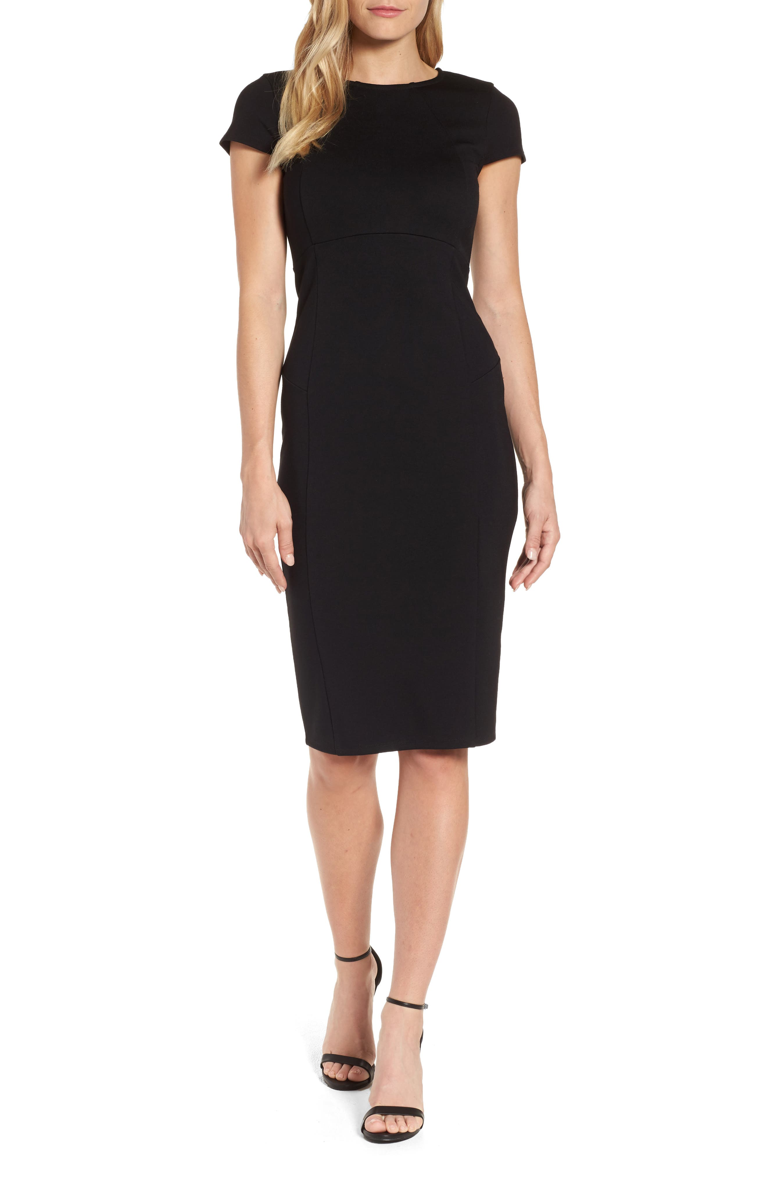 ,                             Ward Seamed Pencil Dress,                             Main thumbnail 1, color,                             001