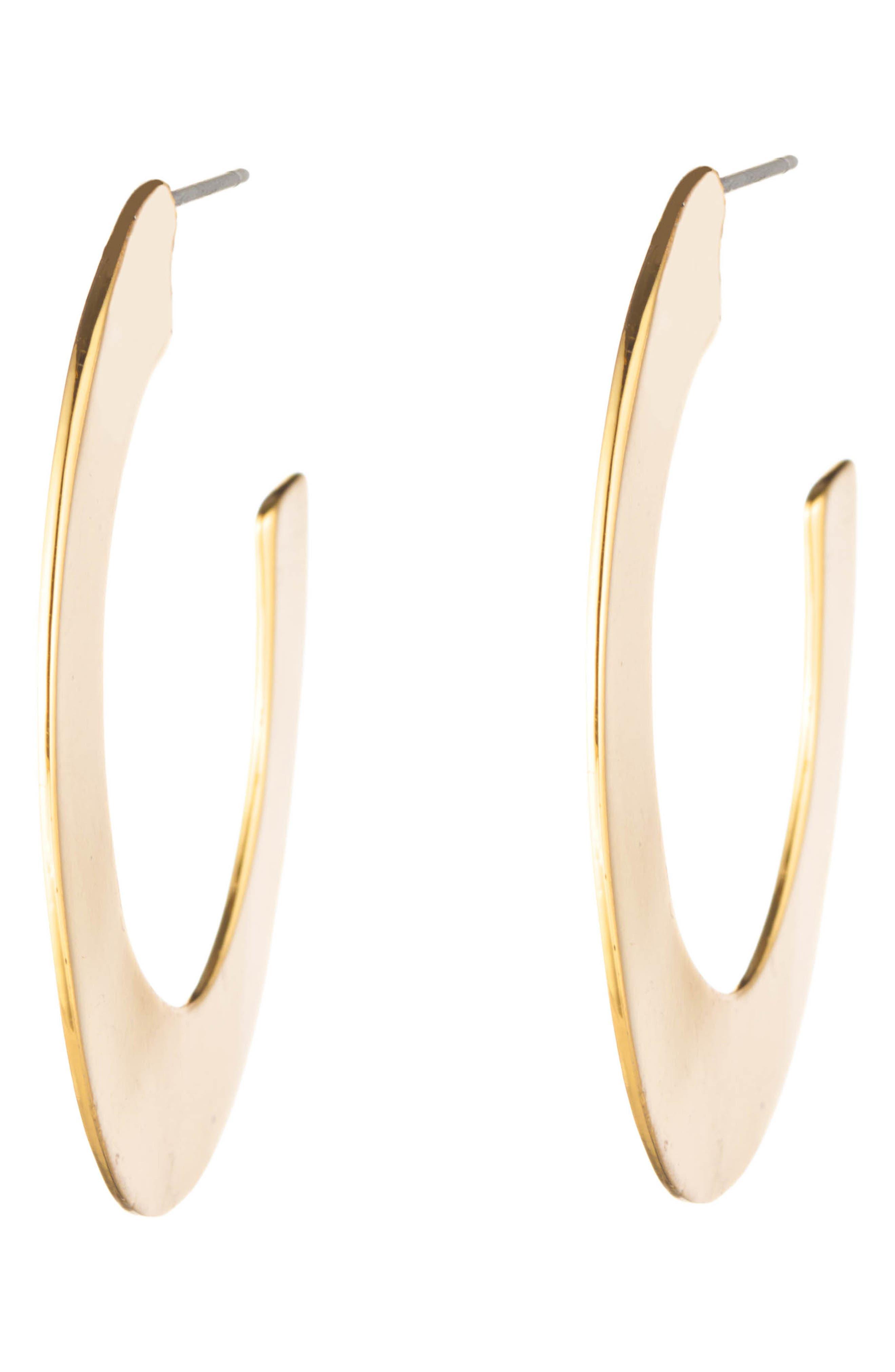 Liquid Metal Orbit Hoop Earrings, Main, color, GOLD
