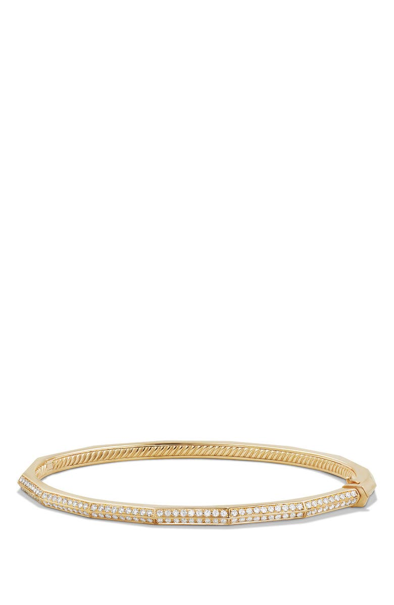 DAVID YURMAN Stax Single-Row Faceted 18K Gold Bracelet with Diamonds, 3mm, Main, color, YELLOW GOLD