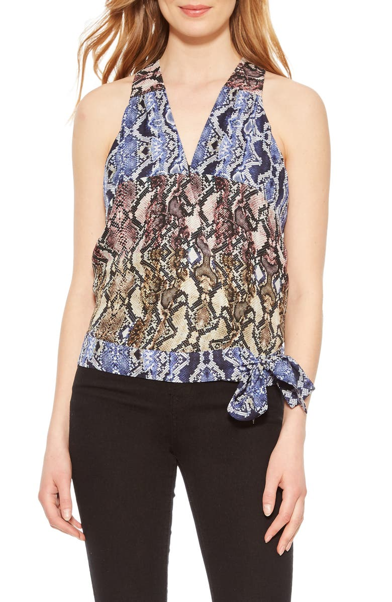 PARKER Kenna Python Print Silk Georgette Wrap Top, Main, color, PYTHON MULTI
