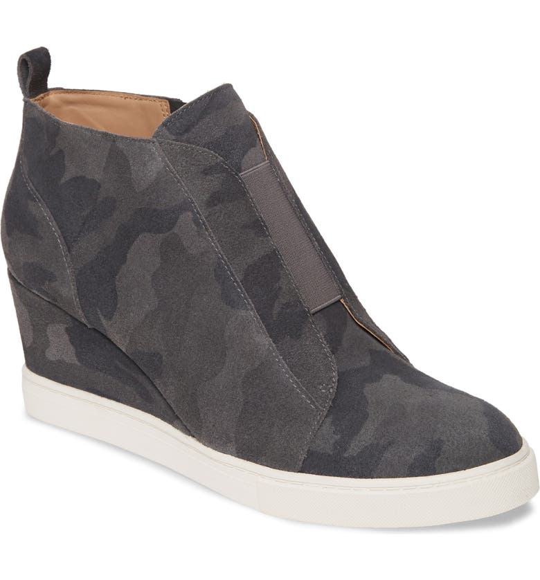 LINEA PAOLO Felicia Wedge Bootie, Main, color, BLACK/ DARK GREY SUEDE
