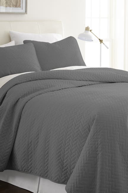 Image of IENJOY HOME Home Spun Premium Ultra Soft Herring Pattern Quilted Twin Coverlet Set - Gray