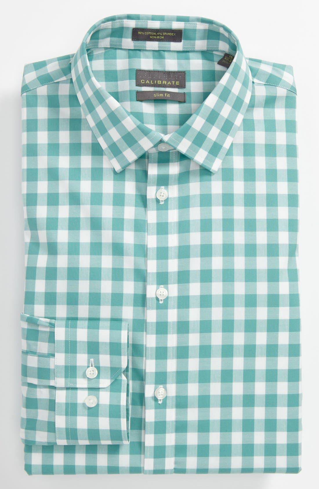 ,                             Slim Fit Non Iron Gingham Dress Shirt,                             Main thumbnail 9, color,                             300
