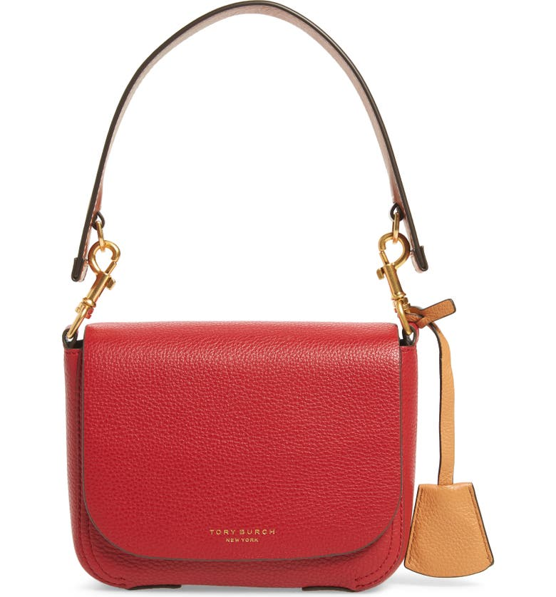 TORY BURCH Perry Calfskin Leather Crossbody, Main, color, RED APPLE