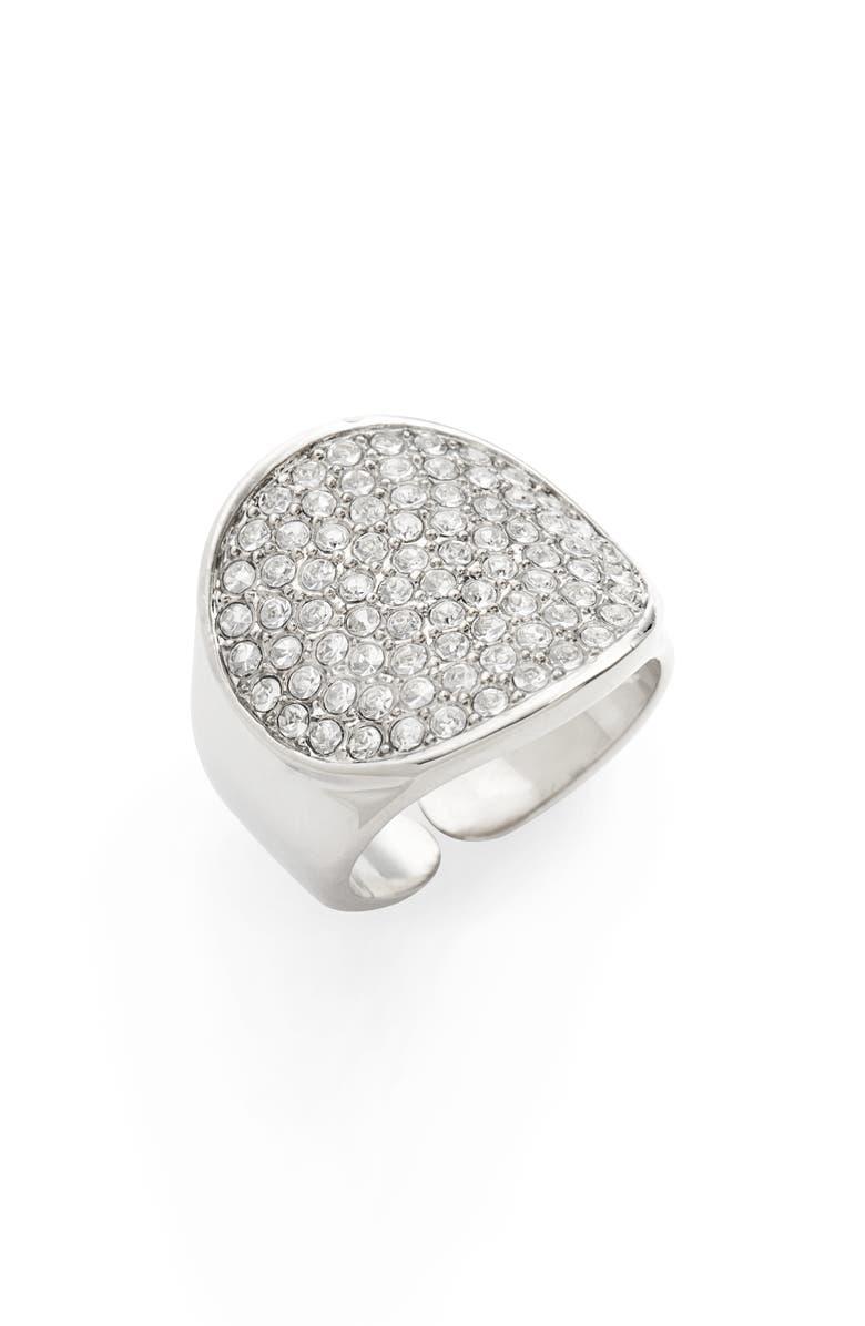 LISA FREEDE Adjustable Pavé Signet Ring, Main, color, RHODIUM