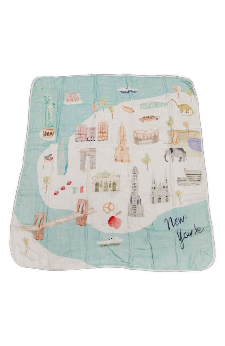 LOULOU LOLLIPOP New York City Deluxe Muslin Swaddle Blanket, Main, color, 400