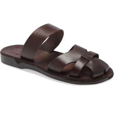 Jerusalem Sandals Adino Slide Sandal, Brown