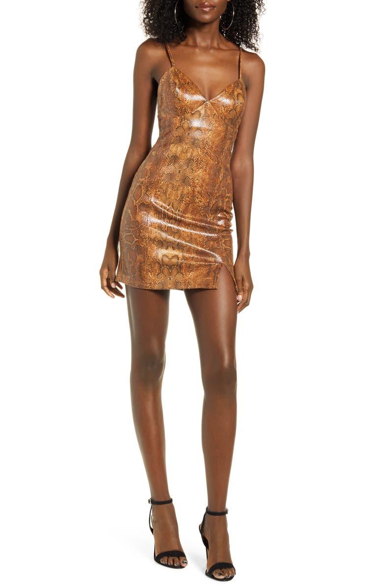 J.O.A. Body-Con Minidress, Main, color, BROWN SNAKE