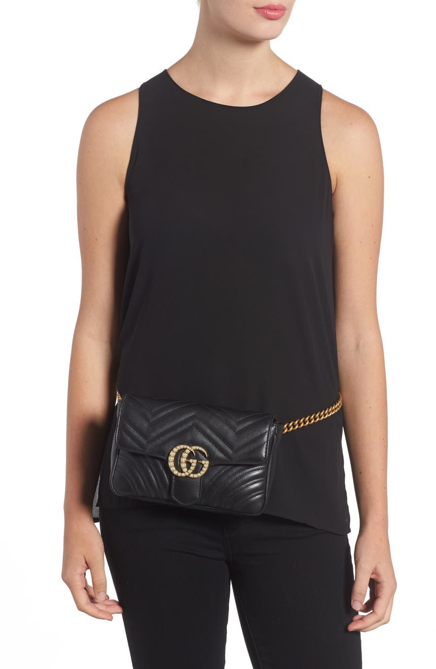 ce3fc421b58e82 Gucci Marmont 2.0 Imitation Pearl Logo Quilted Leather Belt Bag | Nordstrom
