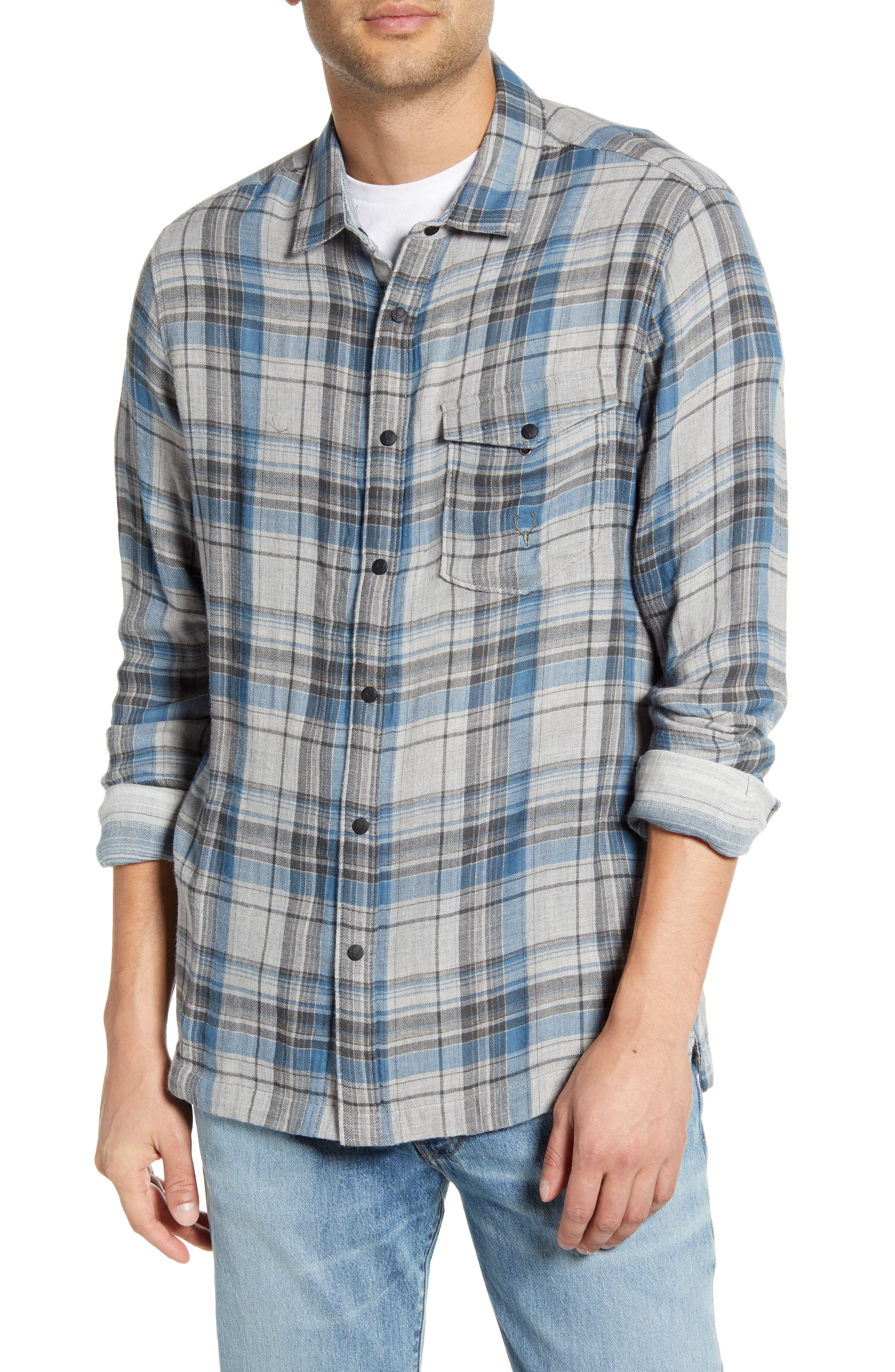 Stag Reversible Plaid & Stripe Cotton Blend Shirt