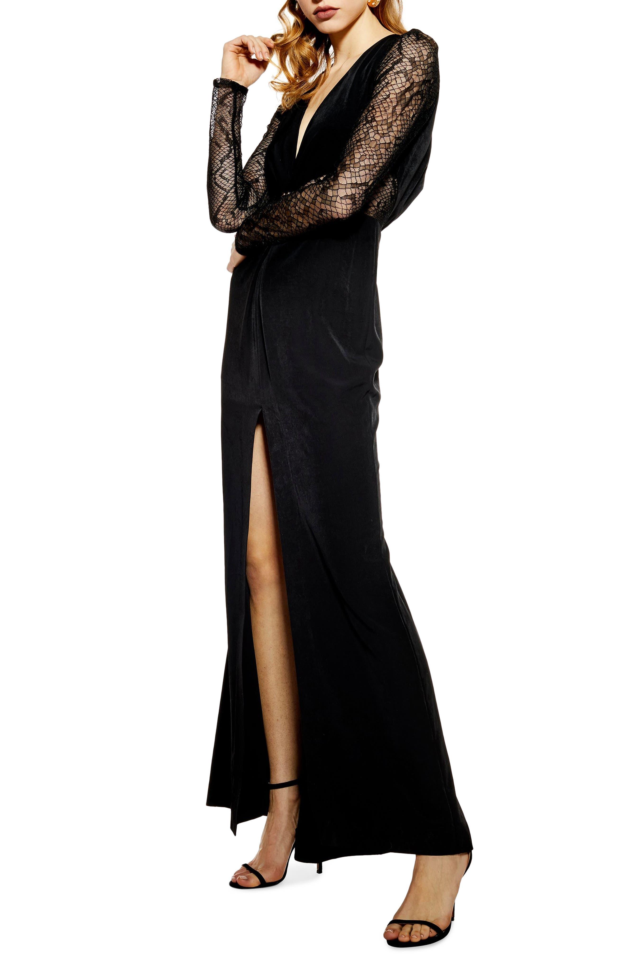 Topshop Long Lace Sleeve Formal Maxi Dress, US (fits like 0-2) - Black