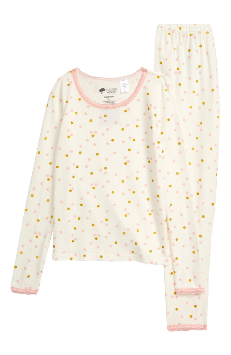 TUCKER + TATE Lace Trim Fitted Two-Piece Pajamas, Main, color, IVORY EGRET SPARKLE DOT