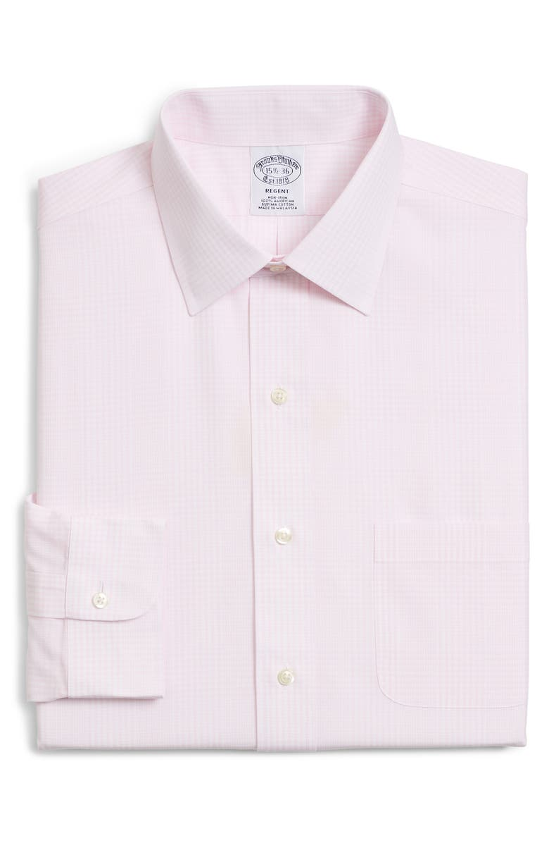 BROOKS BROTHERS Regular Fit Plaid Dress Shirt, Main, color, LIGHT PINK