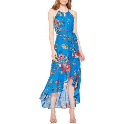 Parker Davina Floral High/low Dress, Blue
