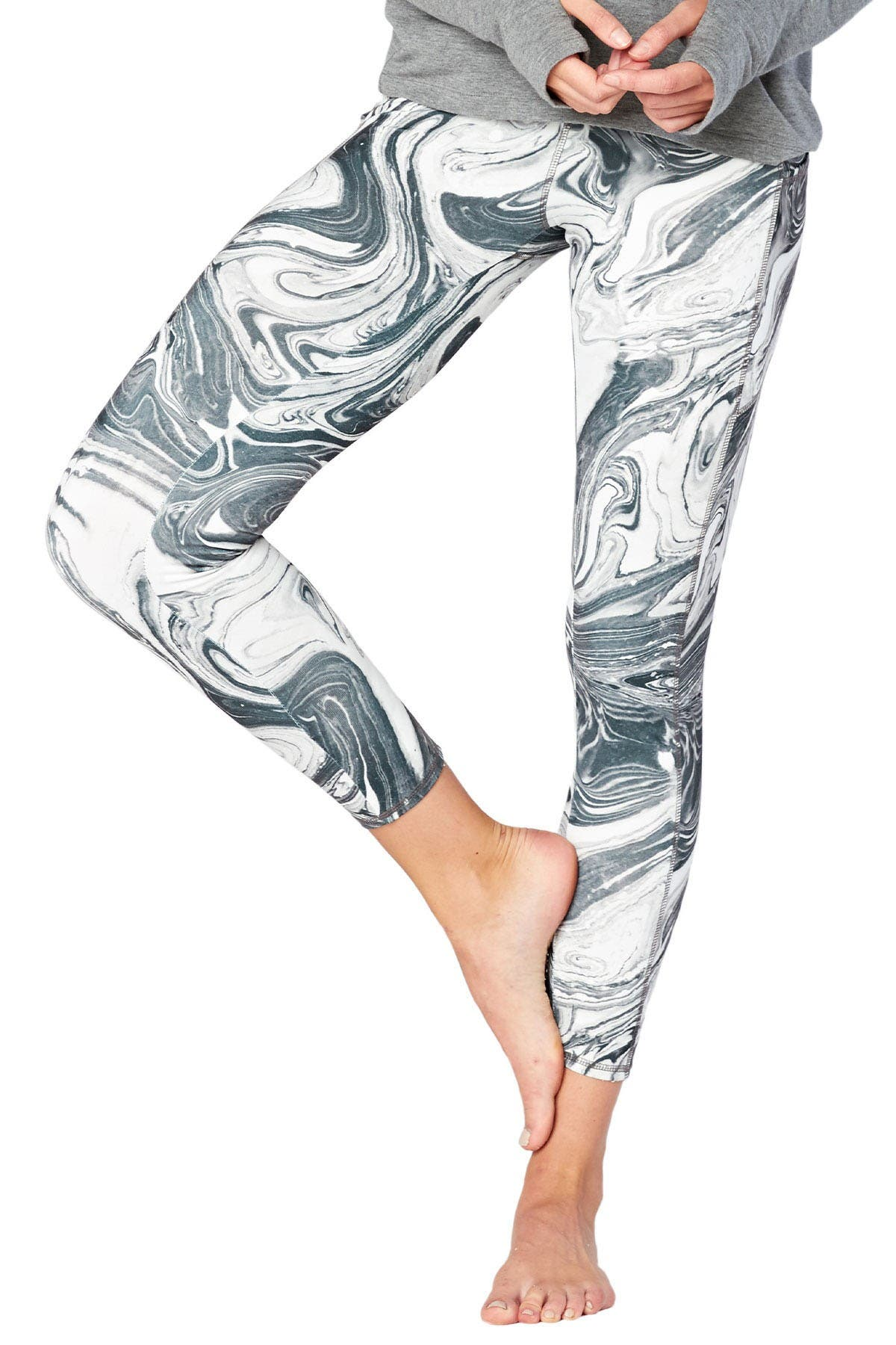 Image of Threads 4 Thought Astrid Marble Print Ankle Crop Leggings