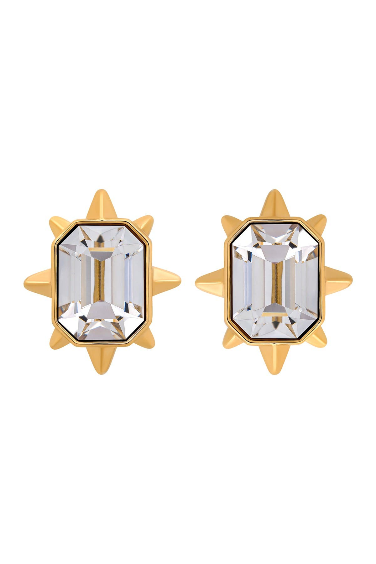 Image of Swarovski Tarot Magic 23K Yellow Gold Plated Clear Swarovski Crystal Stud Earrings