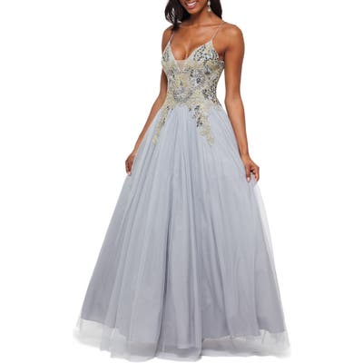 Betsy & Adam Sequin Embroidered Tulle Ballgown, Grey