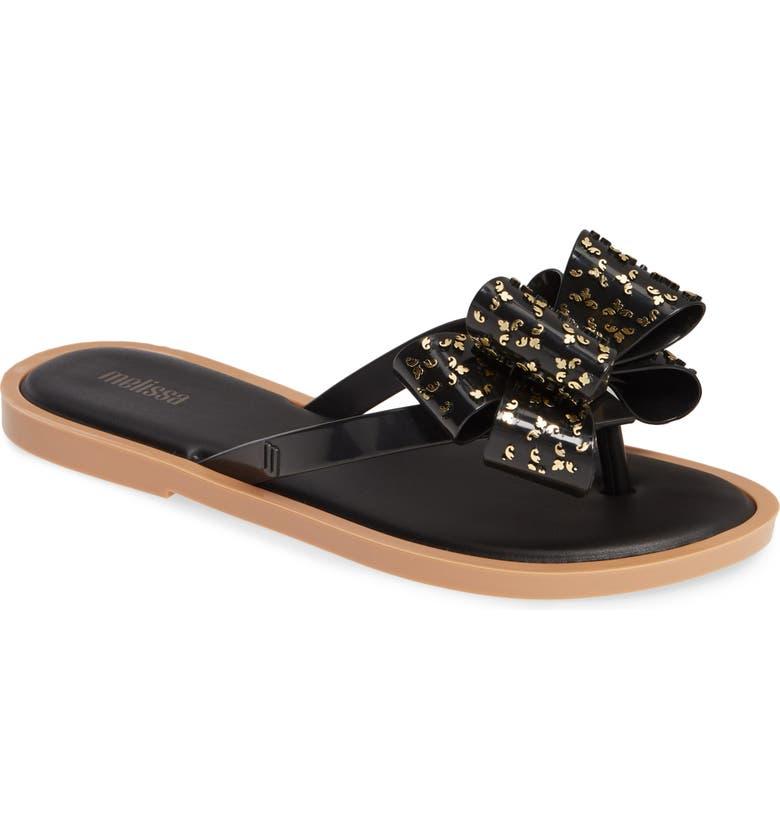 MELISSA Sweet Flip Flop, Main, color, BLACK BEIGE RUBBER