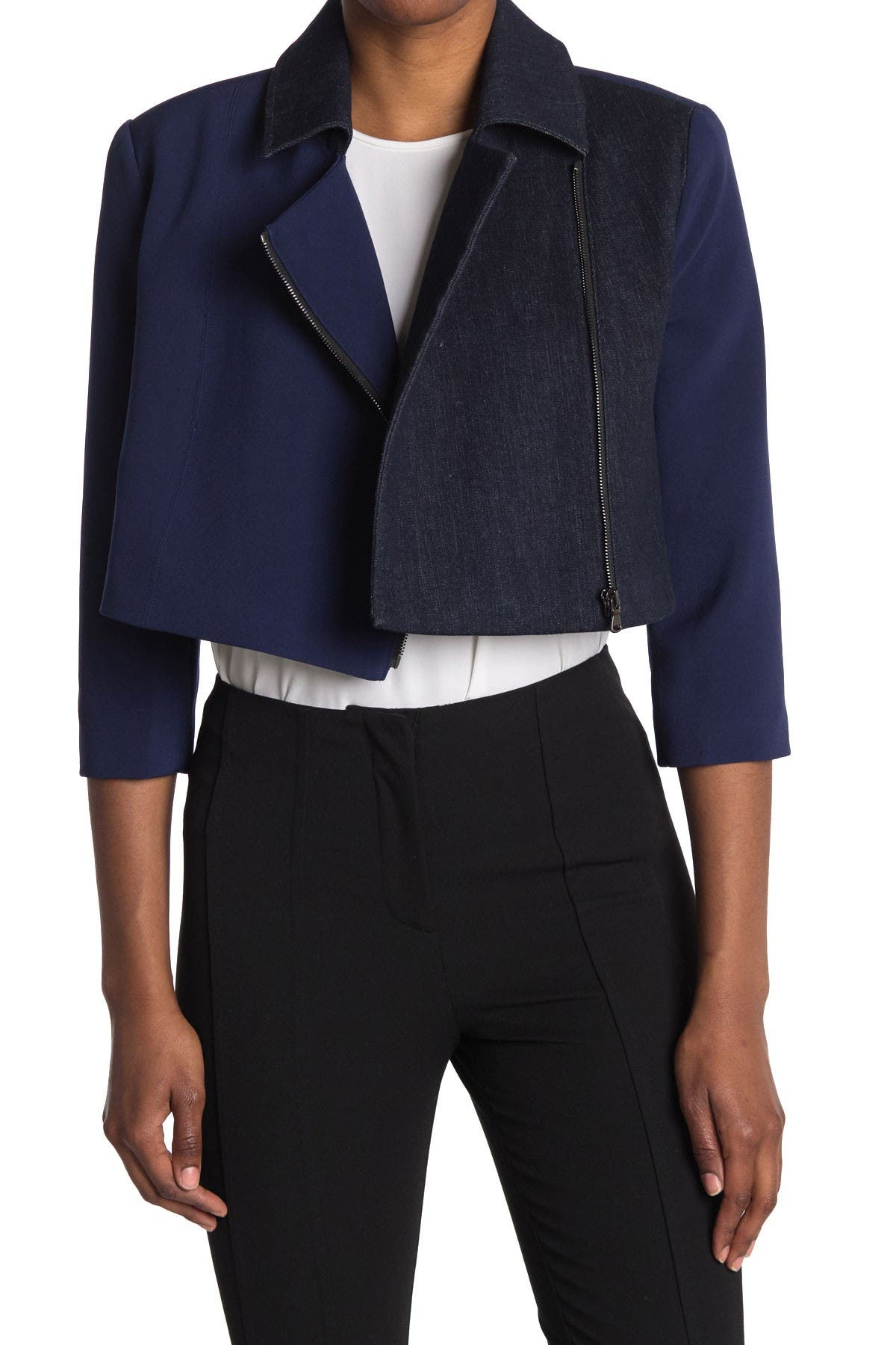 Image of Toccin Colorblock Cropped Moto Jacket